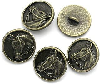 10x Horses head Equestrian buttons profile view bronze Colour 15mm