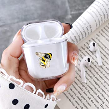 Hexagonal Pattern with bee Slim Form Fitted Printing Pattern Cover Case with Carabiner Compatible with Airpods 1 and AirPods 2