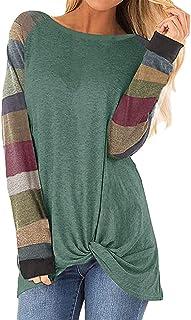 Julhold Blouse voor dames, herfst, streep, print, losse tops, trui, casual blouse, patchwork T-shirt