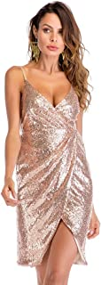 婦人服スパンコールドレスディープVネックスリングセクシーなドレス (サイズ さいず : S s)
