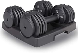 GYMBOPRO Adjustable Dumbbell 12.5 Pounds Fitness Dial Dumbbell with Handle and Weight Plate for Home Gym 2 PCS,5 Adjustabl...