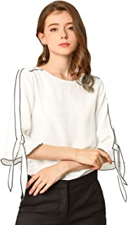 Allegra K Women's Piped Chiffon Ruffle Blouse Elbow Sleeve Round Neck Tie Sleeve Top Shirt