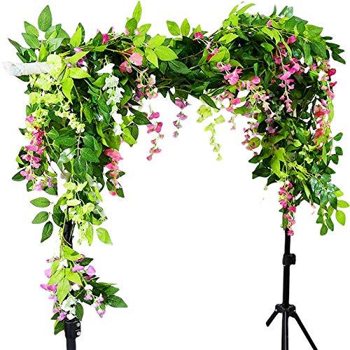 Miwoie Wisteria Garland Artificial Silk Vine, 6.5 ft/Piece, Fake Flowers Garlands Silk Ivy Hanging Plants Wall Decoration for Wedding Party Garden (Pink)