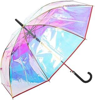 Paraguas Transparente y Resistente al Viento, Paraguas con Apertura Automática, Paraguas con Varillas de Fibra Anti-Viento...