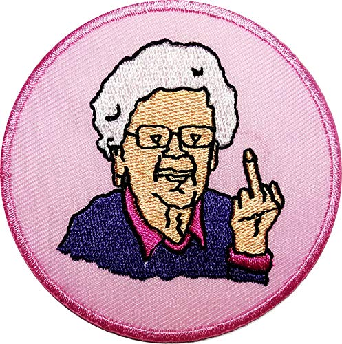 Grandma Saying FCK You Funny Slogan Word Patches Appliques Fabric Decorating for Hat Cap Polo Backpack Clothing Jacket T-Shirt DIY Embroidered Iron On/Sew On Patch