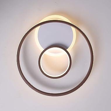 LED Plafonnier Anneaux Dimmable en Métal, 2800LM Chic Ronde Chambre Lumière Décorative, avec Télécommande, Moderne Lampe de P