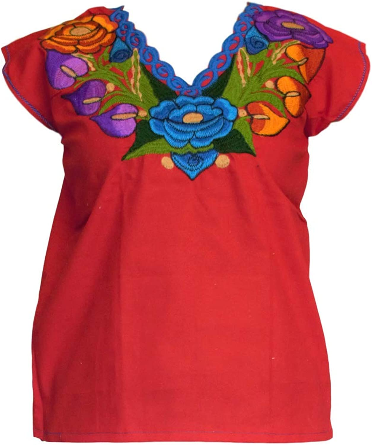 Choose your color /& size Mexican Blouses Floral Embroidery Chiapas artisans Mexican Party Day of the Dead /…
