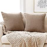 Deconovo Funda para cojin Almohada Decorativa Prodector del Sofa Silla 2 Piezas 50x50cm Marrón