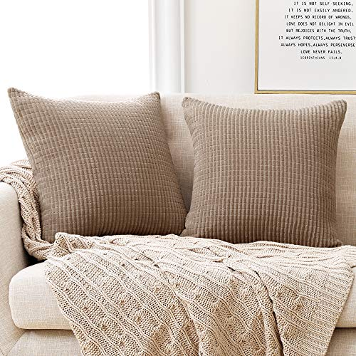 Deconovo Kissenbezug Kordsamt Zierkissenbezug Dekorativen Kissenhüllen Weiches Massiv Kissen für Sofa Couch Schlafzimmer Taupe 40x40 cm 2er Set