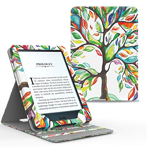 MoKo Case for Kindle Paperwhite, Premium Vertical Flip Cover with Auto Wake/Sleep Fits All Paperwhite Generations Prior to 2018 (Will not fit All-New Paperwhite 10th Generation), Lucky Tree