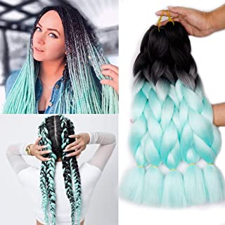 Ombre Jumbo Braiding Synthetic Hair Braids 24Inch 5 Packs/lot Phoenixfly Ombre 2 Colors Kanekalon Fiber Crochet Hair for Box Braids Senegal Mambo Twist Hair Extensions (#13 Black/Light Blue)