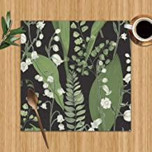 Lily Valley Fern Hand Nature Washable Placemats for Dining Table Double Fabric Printing Polyester Place Mats for Kitchen Table Set of 4 Table Mat 12