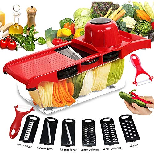 Food Processor Blender Slicer Chopper And Dicers Multi-Blade Mandolin Vegetable Slicer Adjustable Manual Potato Onion Grater With Bowl Kitchen Accessories