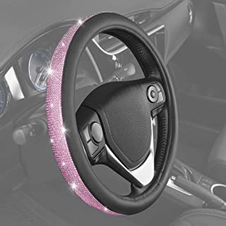 BDK Bling Bling Diamond Leather Steering Wheel Cover with 9 Rows Crystal Rhinestones, Universal Fit 14.5-15.5 Inch for Women/Girls (Pink) (SW-2611-HP)