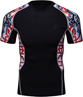 Fanii Quare Men's Lightweight Short Sleeve Cool Dry Rashguards Compression Sports Workout T-Shirt