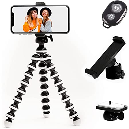 TalkWorks Flexible Phone Tripod for iPhone, Android, Camera - Adjustable Stand Holder with Mini Wireless Remote for Selfies, Vlogging, Beauty/Makeup, Live Streaming/Recording, Adventure, Black