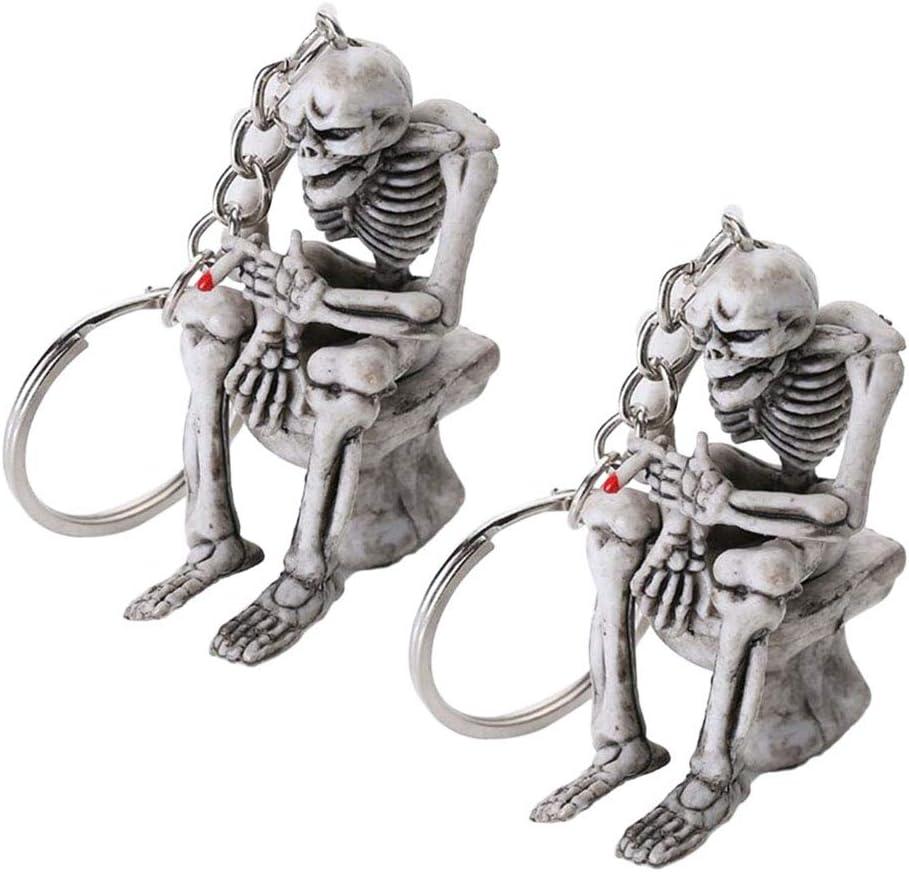 KESYOO 2Pcs Cool Skull Toilet Keychain Creative Skeleton Skull Sitting on The Toilet Keyring Keychain Purse Pendant Accessories(Grey) Party Supplies