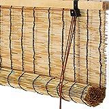 SJMFGF Persianas enrollables de bambú, cortina natural para ventana, parasol, vintage, impermeable, transpirable, persianas frescas para interiores, personalizable (tamaño: 100 x 200 cm)