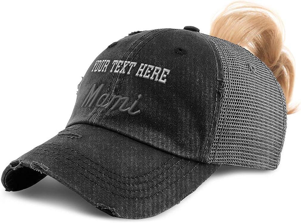 Custom Womens Ponytail Cap Mami, Mom, Mama, Embroidery Distressed Trucker Hats