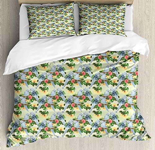 Juego de funda nórdica Hibiscus, composición de elementos florales y periquitos pájaros, juego de cama decorativo de 3 piezas con 2 fundas de almohada, coral pastel verde helecho verde azul gris