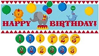 Giant Party Banner with Customizable Year Stickers, Circus Time