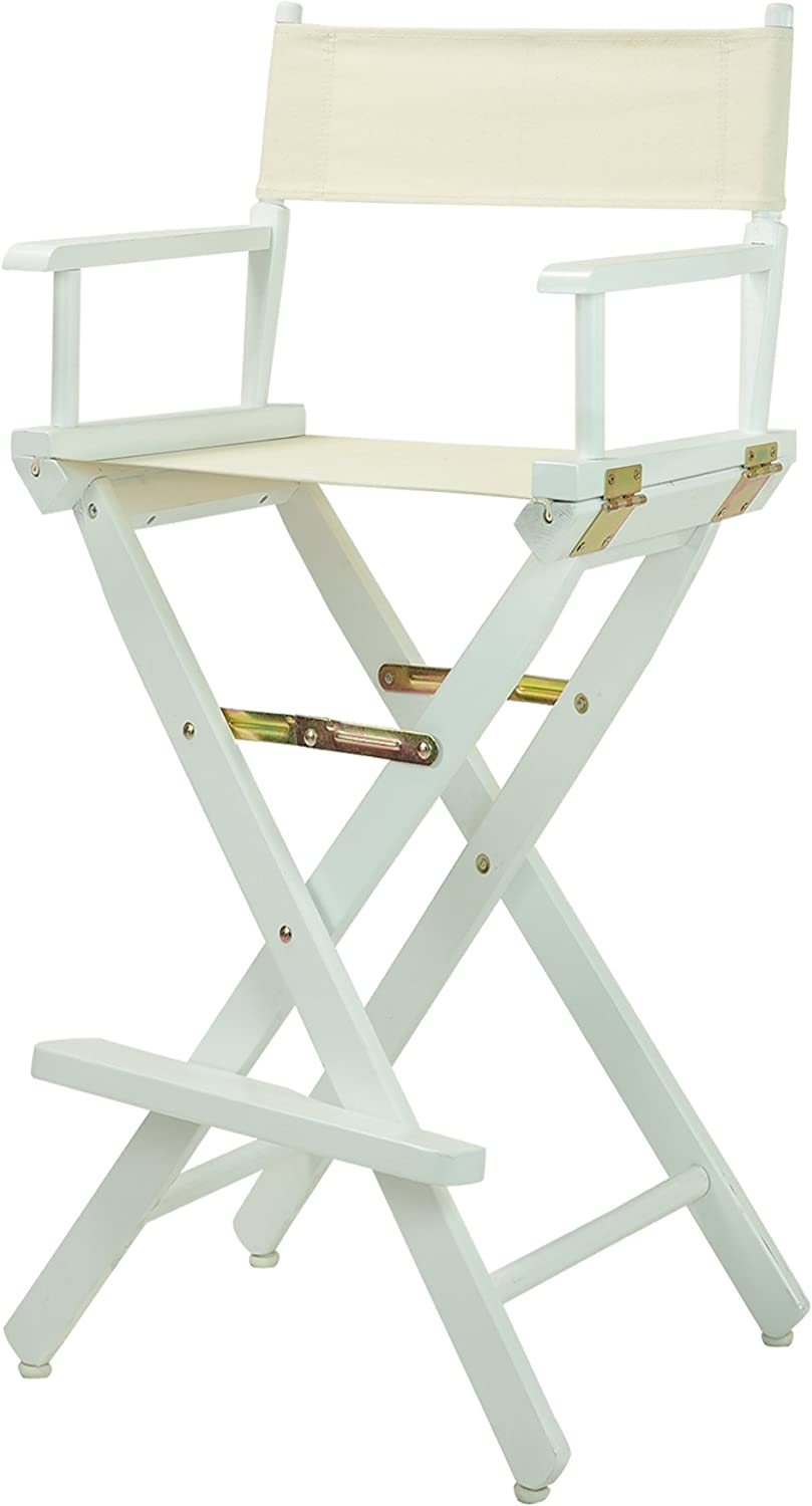 Casual Home 30-Inch Director Chair White Frame, Natural Wheat Canvas