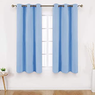 HOMEIDEAS Blackout Curtains 63 Inches Length 2 Panels Blue Room Darkening Curtains/Drapes, Thermal Insulated Solid Grommet Window Curtains for Kids Bedroom & Living Room, 42 x 63 Inches