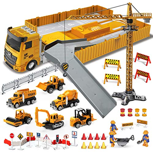 Construction Toys Truck Car Set, Kids Engineering Playset, Bulldozer, Forklift, Steamroller, Dump, Cement Mixer and Excavator Toy, Lifting Crane, Birthday Gift for 3 4 5 6 7 8 Years Old Boys and Girls