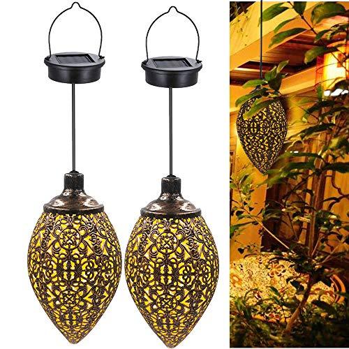 2 Pcs Hanging Solar Lights Solar-Powered Lantern LED Garden Lights Metal Lamp Waterproof for Outdoor Hanging Decor