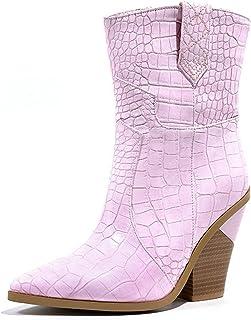 ZHENGRUI Midden laarzen voor dames, sexy mode, set voeten, buitenaardse hak, midden kalf hoge hakken, visschubbenpatroon, ...