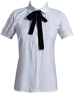 49d188a4bc6e92 Taiduosheng Women Ivory White Bowtie Baby Collar Tops Blouses Short Sleeve  OL Chiffon Button Down Shirt