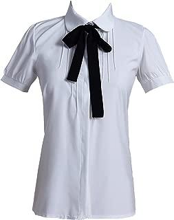 Taiduosheng Women Ivory White Bowtie Baby Collar Tops Blouses Short Sleeve OL Chiffon Button Down Shirt