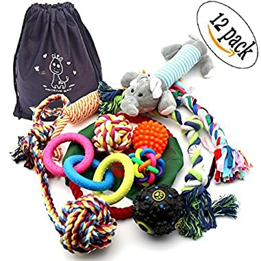 12 Pack Dog Chew Toys Rope Pet Toy with ball For Small to Medium Dogs