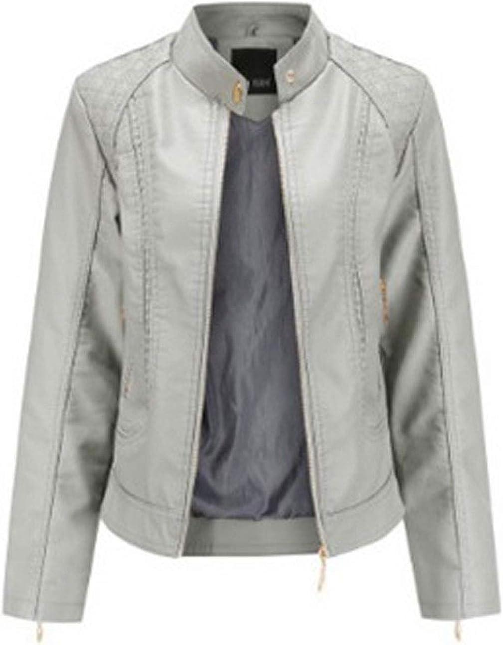 chouyatou Women's Banded Collar Zip Up Lightweight Quilted Pattern Pu Leather Biker Jacket