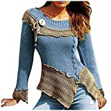 NANTE Top Women's Blouses Splicing Round Collar Restoring Ancient Ways Long Sleeves Sweater Native American Tunic Plus Size Cosplay Costume (Blue, L)