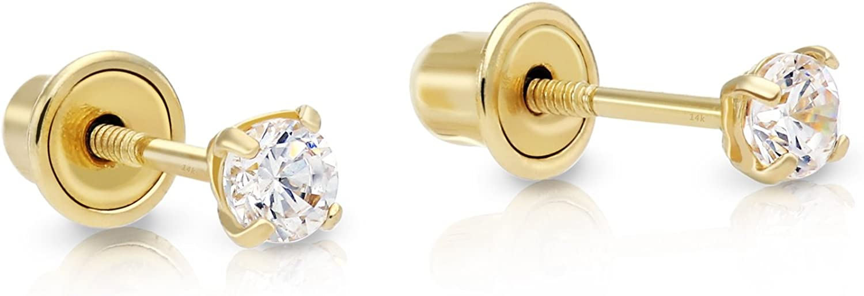 14k Yellow Gold Cubic Zirconia Stud Earrings with Screw Backs
