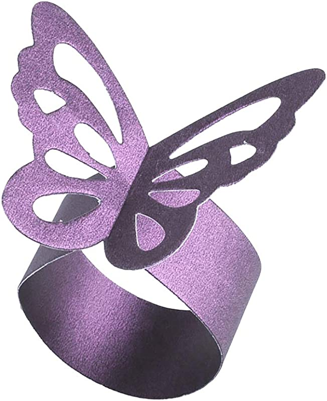 YINGYUE 50pcs Butterfly Pattern Pearlescent Paper Napkin Rings Wedding Party Table Decor Purple