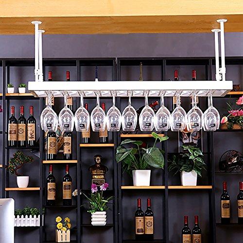 FAFZ Porta Bicchiere di Vino Rosso Porta Ferro da Vino Porta Bicchiere Alto Portabicchieri sospeso Espositore Bar Espositore da Tavolo da Bar (Colore : Bianca, Dimensioni : 100 * 35cm)