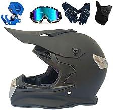 PKFG® Casco Motocross Adulto Negro Matee Set, Integral Casco de Moto Mujer Hombre Casco MTB Enduro Cross Helmet Contener Gafas Gancho Guante Casco MTB para Motocross Motociclet