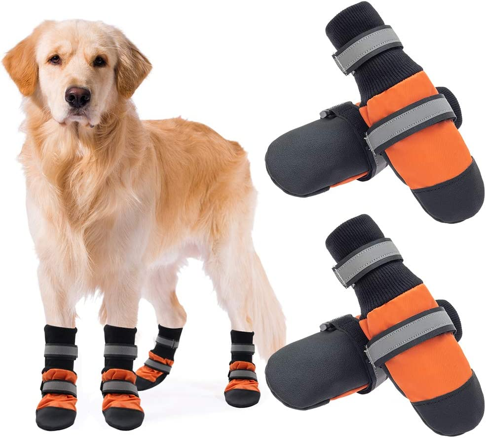 Anti-Slip Dog Boots SCENEREAL Waterproof Dog Shoes Reflective /& Adjustable Dog Booties with Rugged Sole 2 Pairs Outdoor Pet Paw Protector for Small Medium Large Dogs
