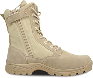 """PY- FLRINGPIN Men's 8"""" Tactical Boots Leather Military Boots Non-Slip Work Boots with Zipper"""