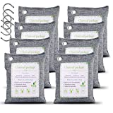 WGCC Activated Bamboo Charcoal Air Purifying Bags 8Pack x 200g, Odor eliminator Charcoal Bags Odor Absorber Nature Fresh Bags - Kid & Pet Friendly Air Fresheners for Home, Car, Closet, Pets and Basement