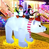 MAOYUE Christmas Inflatables 7.5FT Polar Bear with Penguin Inflatable Outdoor Holiday Yard Decorations Built-in LED Lights with Stakes, Tethers for Outdoor, Yard, Roof, Lawn