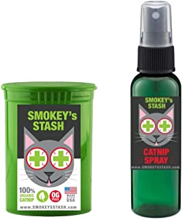 Smokey's Stash Cat Catnip Spray and Dried Organic Catnip Combo Maximum Potency cat nip Bundle