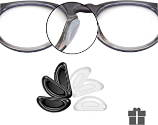 SMARTTOP Adhesive Nose Pad, 12 Pairs Eyeglass Nose Pads Stick On Silicone Anti-Slip for Glasses Sunglasses Thin Nose Pads Eyeglasses (6-Black & 6-Clear)