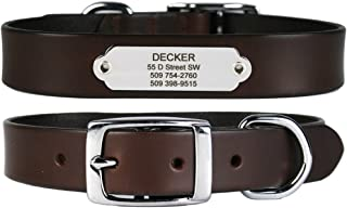 GoTags Leather Dog Collar with Rivet-on Nameplate in Stainless Steel, Personalized Engraved Name Plate ID Tag on Soft, Brown Leather Dog Collar for Small, Medium and Large Dogs