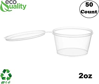 EcoQuality [50 Pack] 2 Oz Leak Proof Plastic Condiment Souffle Containers with Attached Lids - Portion Cup with Hinged Lid Perfect for Sauces, Samples, Slime, Jello Shot, Food Storage & More!