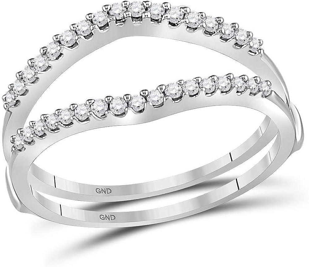 14kt White Gold Womens Round Diamond Ring Guard Wrap Enhancer Wedding Band 1/4 Cttw