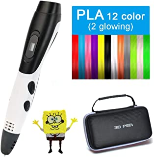Saywe 3D Pen with 12 Color PLA Filament,DIY 3D Drawing Pen with LCD Display,Printing Speed and Temperature Adjustable,Creative Gift for Kid