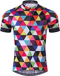 Men`s Cycling Jersey Short Sleeve Bike Clothing Multicolored Diamond